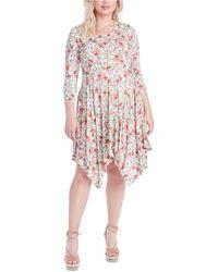 Jessica Simpson Trendy Plus Size Kaelin Printed Handkerchief-hem Dress - Multicolour