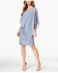J Kara Poncho Overlay Sequin Sheath Dress - Blue