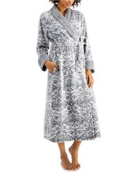Charter Club Long Floral Scroll Robe, Created For Macy's - Gray
