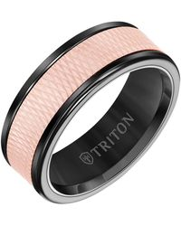 Triton 8mm Black Tungsten Carbide Ring With 14k Rose Gold Insert