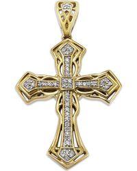 Macy's - Men's Diamond Cross Pendant In 10k Gold (1/6 Ct. T.w.) - Lyst