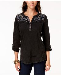 Style & Co. Embroidered Cotton Roll-tab-sleeve Top, Created For Macy's - Black