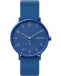Skagen - Unisex Aaren Aluminum Blue Silicone Strap Watch 41mm Created For Macy's - Lyst