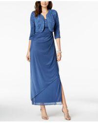 Alex Evenings - Draped Jacquard Gown & Jacket - Lyst