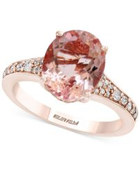 Effy Collection - Morganite (3-1/5 Ct. T.w.) & Diamond (1/4 Ct. T.w.) Ring In 18k Rose Gold - Lyst
