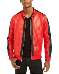 INC International Concepts Diamond Quilted Faux-leather Jacket, Created For Macy's - Red