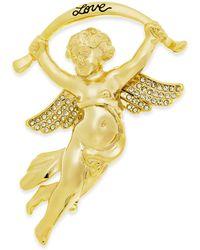 Charter Club Holiday Lane Gold-tone Crystal Cherub Pin, Created For Macy's - Metallic