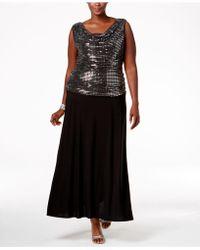 R & M Richards - Plus Size Sequin Top Knit Dress - Lyst