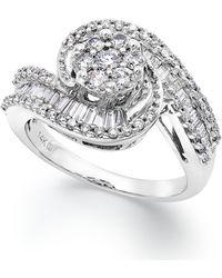 Macy's - Diamond Cluster Swirl Ring In 14k White Gold (1 Ct. T.w.) - Lyst