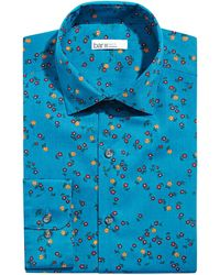 Bar Iii Slim-fit Performance Stretch Floral-print Dress Shirt, Created For Macy's - Blue