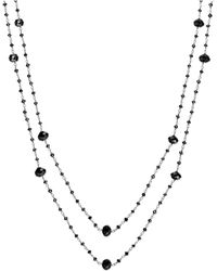Macy's | Black Diamond Two-strand Station Necklace In 14k White Gold (20 Ct. T.w.) | Lyst