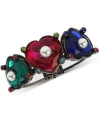 Betsey Johnson - Hematite-tone Multicolor Stone & Imitation Pearl Heart Bangle Bracelet - Lyst