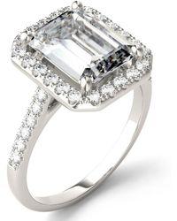 Charles & Colvard Moissanite Emerald Halo Ring (4 Ct. Tw. Diamond Equivalent) In 14k White Gold - Metallic