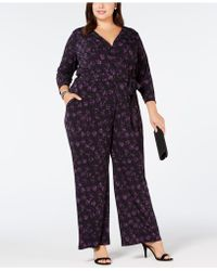 Alfani - Plus Size Belted Printed Jumpsuit, Created For Macy's - Lyst