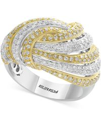 Effy Collection - Diamond Two-tone Knot Ring (1-1/8 Ct. T.w.) In 14k Gold In White Gold - Lyst