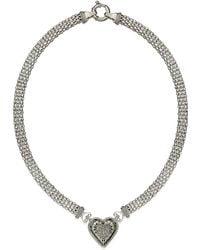 Macy's Diamond Mesh Heart Necklace In Sterling Silver (1/4 Ct. T.w.) - Metallic