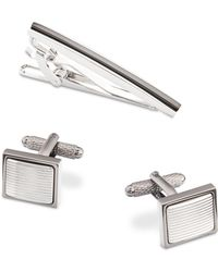Perry Ellis Two-tone Tie Bar & Cuff Links Set - Gray