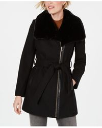 INC International Concepts Inc Asymmetrical Faux-fur-collar Belted Coat, Created For Macy's - Black