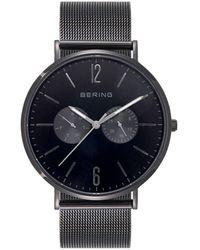 Bering Multi-function Black Stainless Steel Mesh Bracelet Watch 40mm