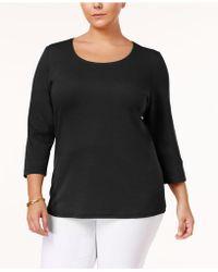 Karen Scott - Plus Size Cotton Scoop-neck Top, Created For Macy's - Lyst