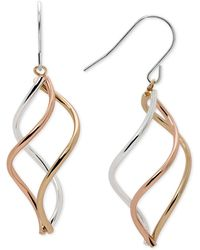 Macy's - Tri-tone Swirl Drop Earrings In Sterling Silver, 14k Gold-plate, And 14k Rose Gold-plate - Lyst