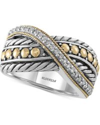 Effy Collection Diamond Two-tone Crisscross Ring (1/10 Ct. T.w.) In Sterling Silver & 18k Gold - Metallic