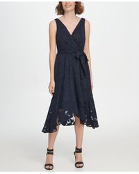 DKNY S/l Double-v Faux Wrap With Belt - Blue