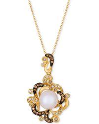 Le Vian - Vanilla Pearltm (9-1/2mm) & Diamond (7/8 Ct. T.w.) Pendant Necklace In 14k Gold - Lyst