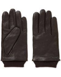 BOSS - Touchscreen Leather Gloves - Lyst