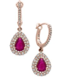 Effy Collection - Certified Ruby (1-3/8 Ct. T.w.) And Diamond (3/4 Ct. T.w.) Drop Earrings In 14k Rose Gold - Lyst