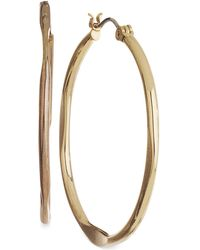 Nine West - Earrings, Gold-tone Medium Hoop Earrings - Lyst