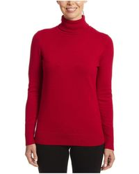 Joseph A Solid Turtleneck With Button Cuff - Red