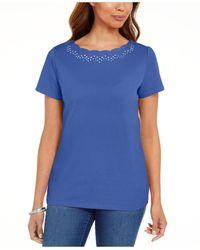 Karen Scott Cotton Scalloped-neck T-shirt, Created For Macy's - Blue