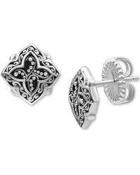 Lois Hill Scroll Work & Filigree Decorative Stud Earrings In Sterling Silver - Metallic