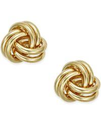 Macy's - Love Knot Stud Earrings In 10k Gold - Lyst