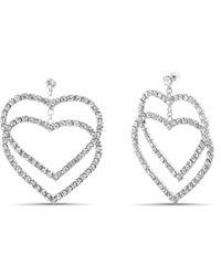 Steve Madden Rhinestone Double Heart Drop Post Earring - Metallic