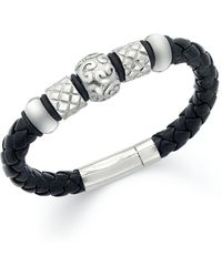 Macy's Men's Stainless Steel Bracelet, Bead And Braided Black Leather Bracelet - Metallic