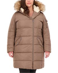 Vince Camuto Plus Size Faux-fur-trim Hooded Puffer Coat, Created For Macy's - Brown