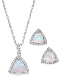 Macy's - Lab-created Opal (7/8 Ct. T.w.) And White Sapphire (1/3 Ct. T.w.) Pendant Necklace And Matching Stud Earrings In Sterling Silver - Lyst