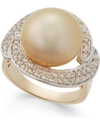 Macy's - Cultured Golden South Sea Pearl (13mm) And Diamond Ring (5/8 Ct. T.w.) In 14k Gold - Lyst