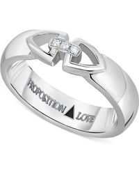 Proposition Love - Unisex Diamond Triangle Motif Ring In 14k White Gold (1/10 Ct. T.w.) - Lyst