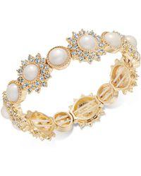 Charter Club - Gold-tone Imitation Pearl & Crystal Stretch Bracelet - Lyst