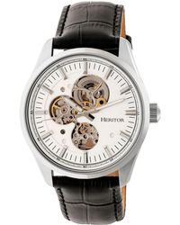 Heritor Automatic Stanley Silver Leather Watches 43mm - Black