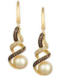 Le Vian - ® Cultured Golden South Sea Pearl (8mm) & Diamond Swirl Drop Earrings (1/2 Ct. T.w.) In 14k Gold - Lyst