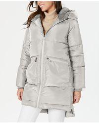BCBGeneration Fleece-lined Hooded Puffer Coat - Grey