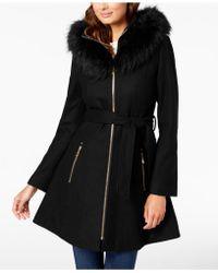 Laundry by Shelli Segal - Faux-fur-trim Hooded Coat - Lyst