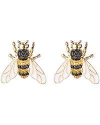 Noir Jewelry Black/gold Cubic Zirconia Bee Stud Earring - Metallic