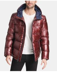 Tommy Hilfiger Pearlized Performance Hooded Puffer Coat - Red