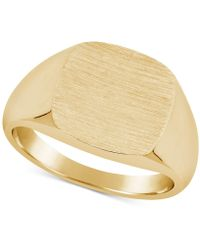 Macy's - Textured Signet Ring In 10k Gold - Lyst