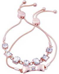 Guess - Rose Gold-tone 2-pc. Set Crystal Friendship Slider Bracelets - Lyst